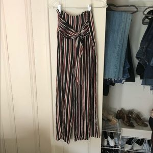 High Waisted Tie Front Striped Pants